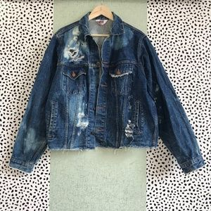 Jackets & Blazers - Vintage Distressed and Bleached Denim Jacket